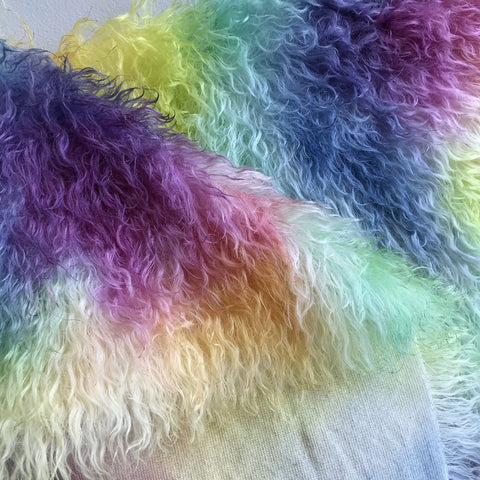 Eddie Long Shaggy Mohair - Hand Dyed Rainbow Spots - Fat 1/4m - OCT147