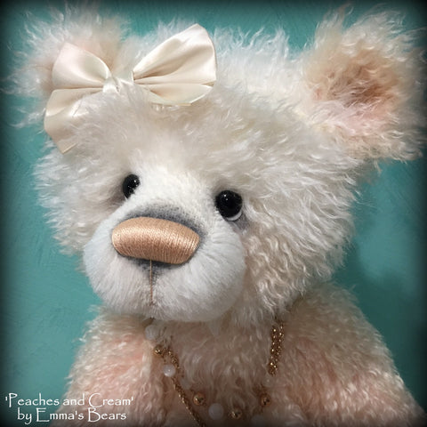 Peaches and Cream - 23IN hand dyed rainbow mohair bear by Emmas Bears - OOAK