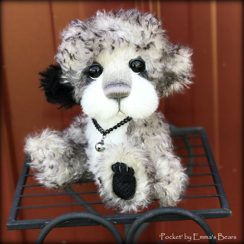 "Pocket - 9"" Mohair and alpaca artist bear by Emma's Bears - OOAK"