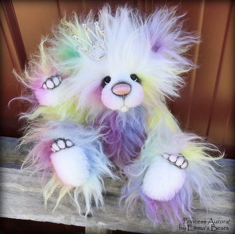 "Princess Aurora - 13"" hand-dyed rainbow mohair Artist Bear by Emma's Bears - OOAK"