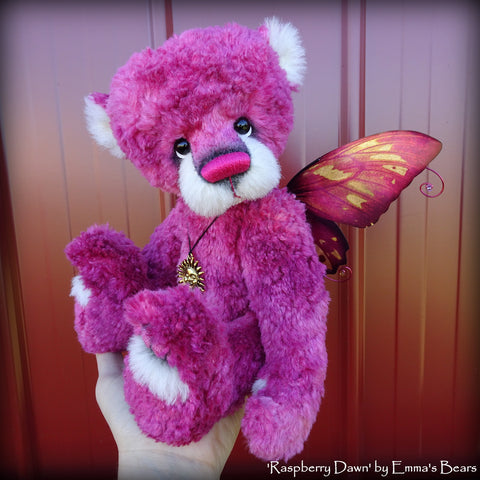 "Raspberry Dawn - 13"" hand-dyed silk/mohair blend fairy bear by Emmas Bears - OOAK"