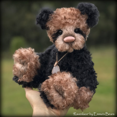 "Ravenlace - 12"" curly kid mohair Artist Bear by Emma's Bears - OOAK"