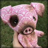 "Wallace - 9"" COTTON Artist Pig by Emmas Bears - OOAK"