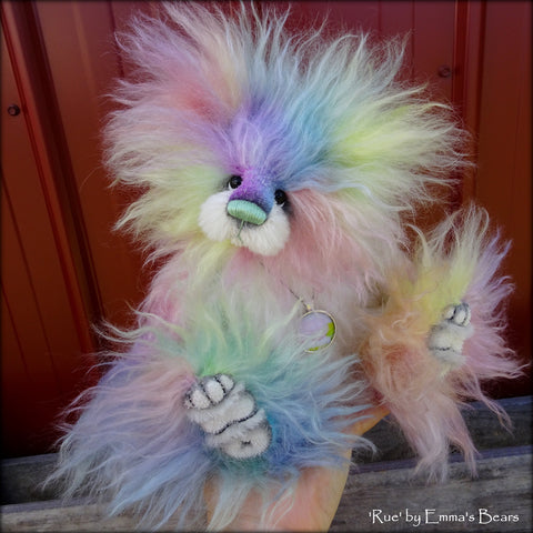 "Rue - 11"" rainbow long pile mohair bear by Emmas Bears - OOAK"
