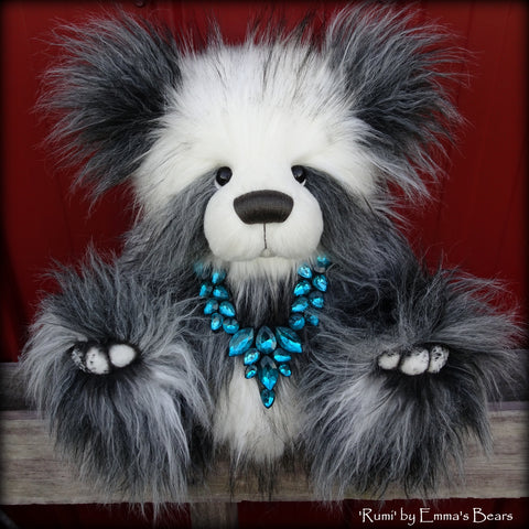 "Rumi - 18"" Faux Fur Artist Fat Panda Bear by Emmas Bears - OOAK"