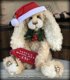 "Santa's Secret - 18"" lanky mohair Christmas Bunny by Emmas Bears - OOAK"