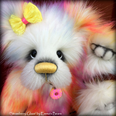 "Strawberry Glaze - 12"" faux fur and alpaca bear by Emmas Bears - OOAK"