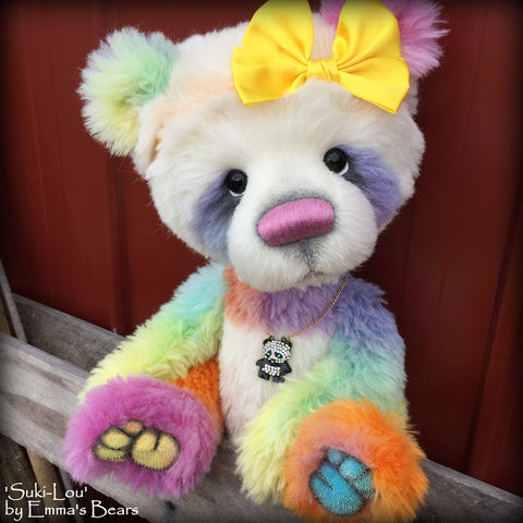Suki-Lou - 18in RAINBOW alpaca cartoon style Artist Bear by Emmas Bears - OOAK