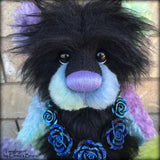 "Tanglegem - 17"" Rainbow and Black Mohair Artist Bear by Emma's Bears - OOAK"