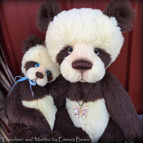 "Martha and Theodore - 22"" and 15"" ALPACA artist bear set  - OOAK by Emma's Bears"