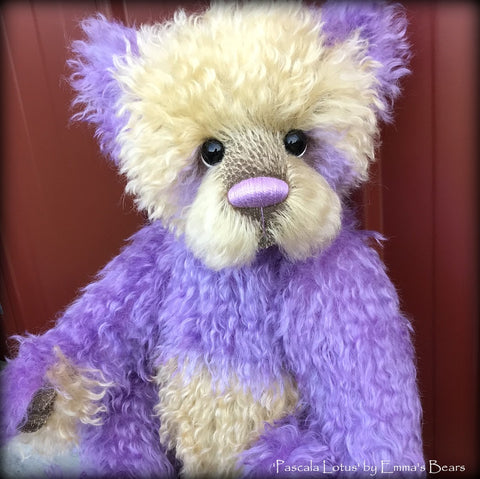 Toddler Pascala Lotus - 21in hand dyed mohair Artist toddler style Bear by Emma's Bears - OOAK
