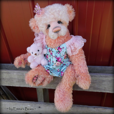 Toddler Lorelei Coral - 21in hand dyed MOHAIR Artist toddler style Panda Bear by Emmas Bears - OOAK