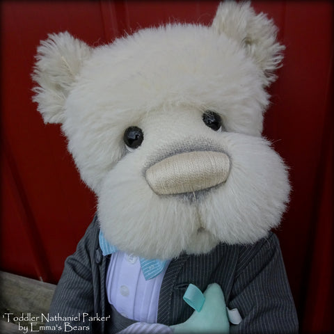 "Toddler Nathaniel Parker - 21"" ALPACA and MOHAIR Artist toddler style Bear by Emmas Bears - OOAK"