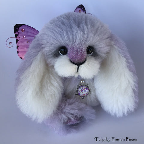 "Tulip - 9"" Hand dyed alpaca artist Easter Bunny by Emma's Bears - OOAK"