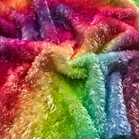 Curly Viscose - Hand Dyed Bright Rainbow - Fat 1/4m - MAR018