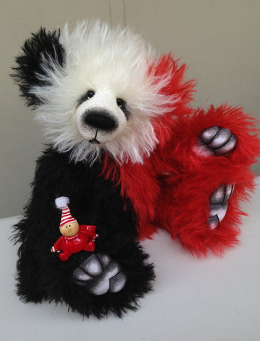 "Yule - 16""  red black and white mohair artist bear by Emma's Bears - OOAK"