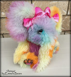 "Amaya Elephant - 10"" rainbow alpaca artist creation by Emmas Bears - OOAK"