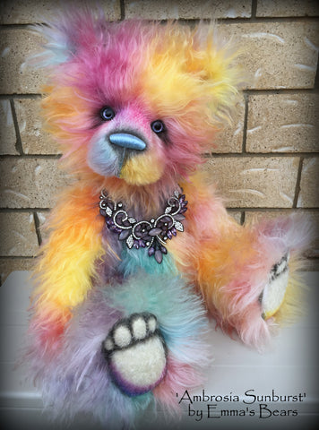 Ambrosia Sunburst - 23IN hand dyed rainbow mohair bear by Emmas Bears - OOAK