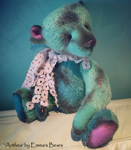 Anthea - 17IN hand dyed antique style mohair bear by Emmas Bears - OOAK