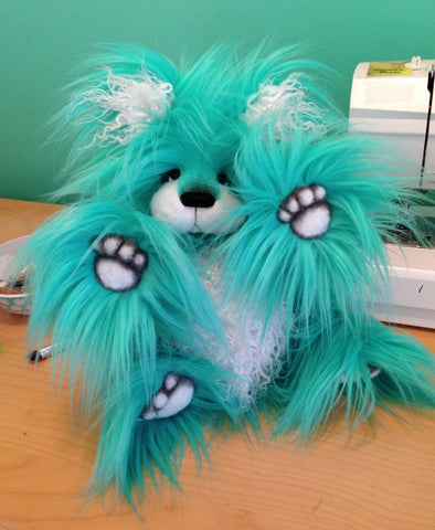 "Atlantis - 17"" turquoise and white faux fur artist bear  - OOAK by Emma's Bears"