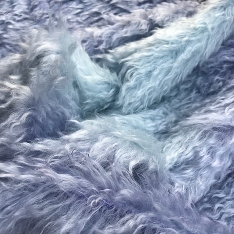 Curlylocks Mohair - Hand Dyed LAVENDER and BLUE - Fat 1/4m - AUG016