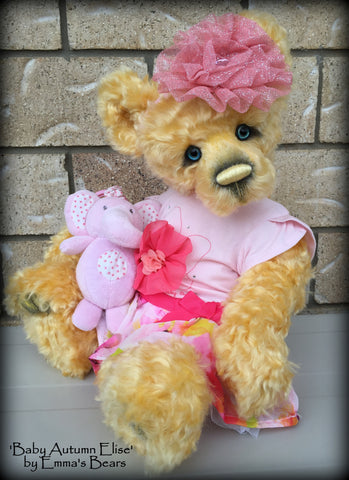Baby Autumn Elise - 18in MOHAIR Artist Newborn baby Bear by Emmas Bears - OOAK