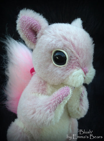 Blush Squirrel - 6IN hand dyed pink mohair squirrel by Emmas Bears - OOAK