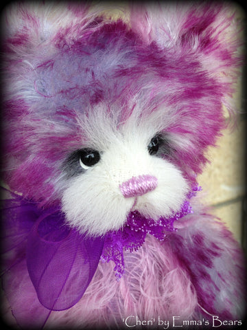 Cheri- handdyed purple mohair bear by Emmas Bears - OOAK