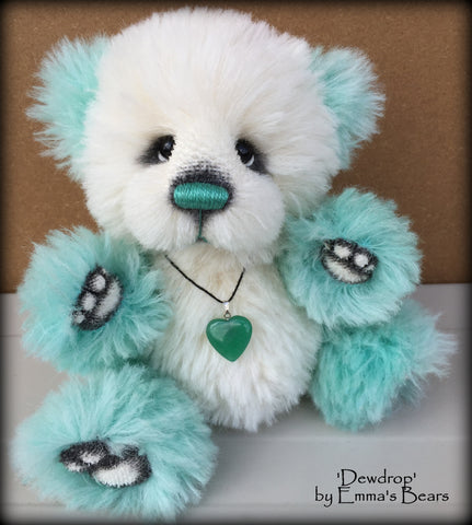 Dewdrop - 9IN aqua and white alpaca bear by Emmas Bears - OOAK