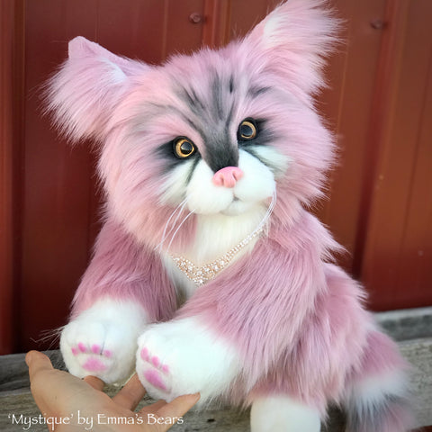 "'Mystique' - life-size 15"" faux fur artist cat by Emma's Bears"