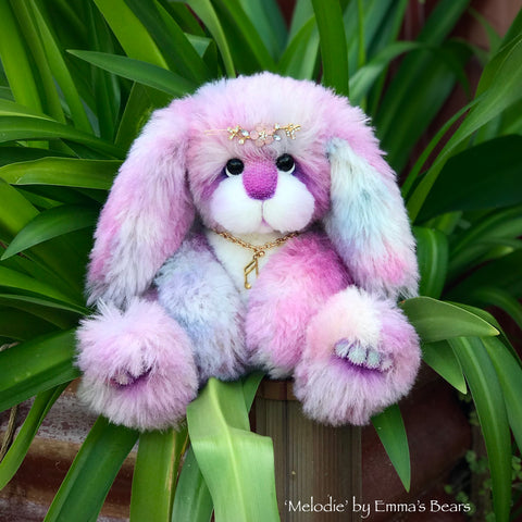 "Melodie - 12"" Alpaca and Faux Fur Artist Easter Bunny by Emma's Bears - OOAK"