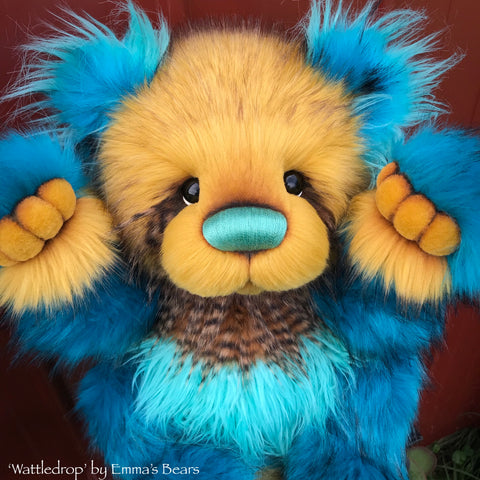 "Wattledrop - 24"" faux fur bear by Emmas Bears - OOAK"