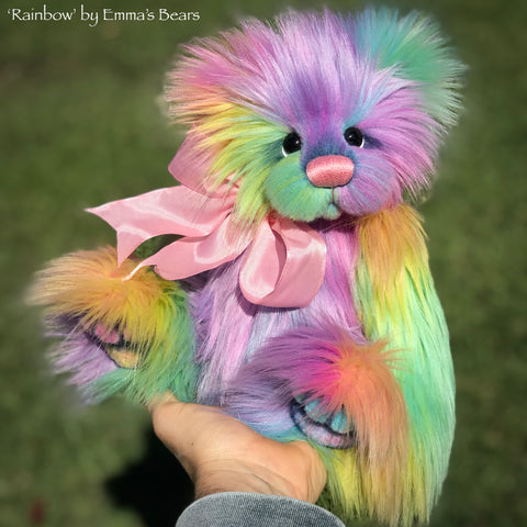 "Rainbow - 13"" faux fur Artist Bear by Emma's Bears - OOAK"