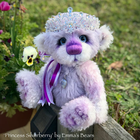 "Princess Silverberry - 14"" kid mohair and alpaca bear by Emmas Bears - OOAK"