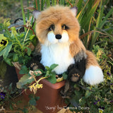 "Sanji - 9"" Artist Soft Sculpture Fox by Emma's Bears - OOAK"