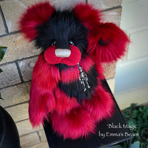 "Black Magic - 16"" faux fur Artist Bear by Emma's Bears - OOAK"