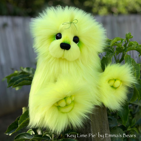 "Key Lime Pie - 13"" faux fur Artist Bear by Emma's Bears - OOAK"