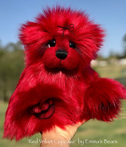 "Red Velvet Cupcake - 13"" faux fur Artist Bear by Emma's Bears - OOAK"