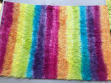 Long Viscose - Hand Dyed Rainbow Stripes - Fat 1/4m - OCT047