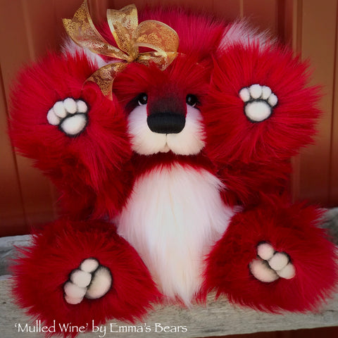 "KITS - 15"" Mulled Wine faux fur Christmas Bear"