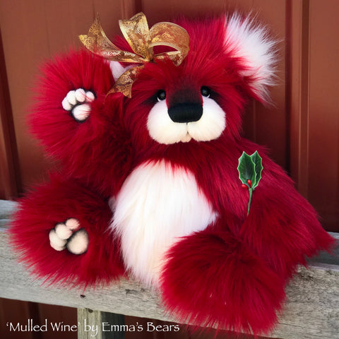 "Mulled Wine - 15"" faux fur Christmas Artist Bear by Emma's Bears - OOAK"