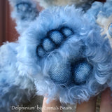"Delphinium - 15"" curly kid mohair Artist Bear by Emma's Bears - OOAK"