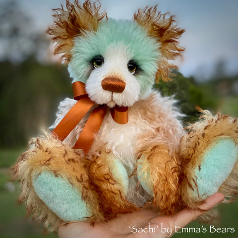 "Sachi - 10"" Hand Dyed Mohair and Alpaca Artist Bear by Emma's Bears - OOAK"