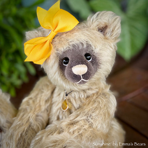 "SALE Collaboration Bear: Sunshine - 9"" handmade mohair artist bear- OOAK"