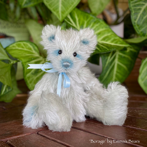 "Collaboration Bear: Borage - 7"" handmade mohair artist bear- OOAK"