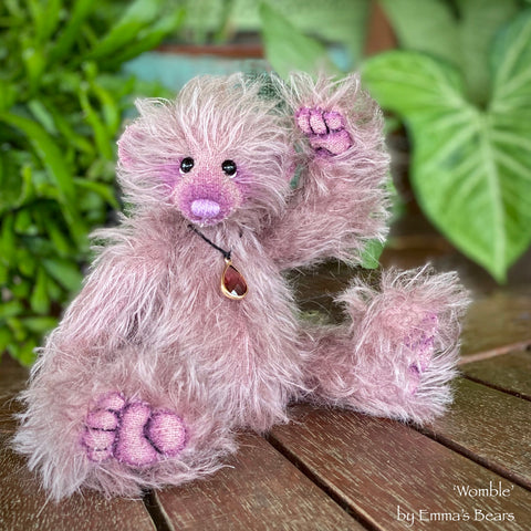 "Collaboration Bear: Womble - 7"" handmade mohair artist bear- OOAK"