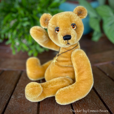 "Collaboration Bear: Duckie - 9"" handmade mohair artist bear- OOAK"