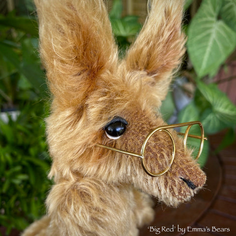"Collaboration Bear: Big Red - 11"" handmade mohair artist kangaroo - OOAK"