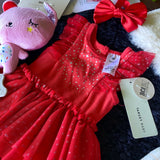 "KIT - 18"" Reborn style Baby Panda in curly kid mohair - RED DRESS outfit"