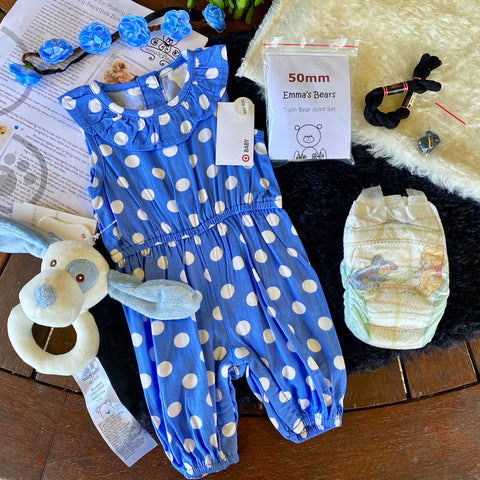 "KIT - 18"" Reborn style Baby Panda in curly kid mohair - BLUE SPOTTY outfit"